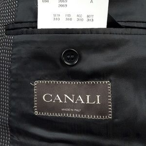 Canali black patterned sport coat size 44R